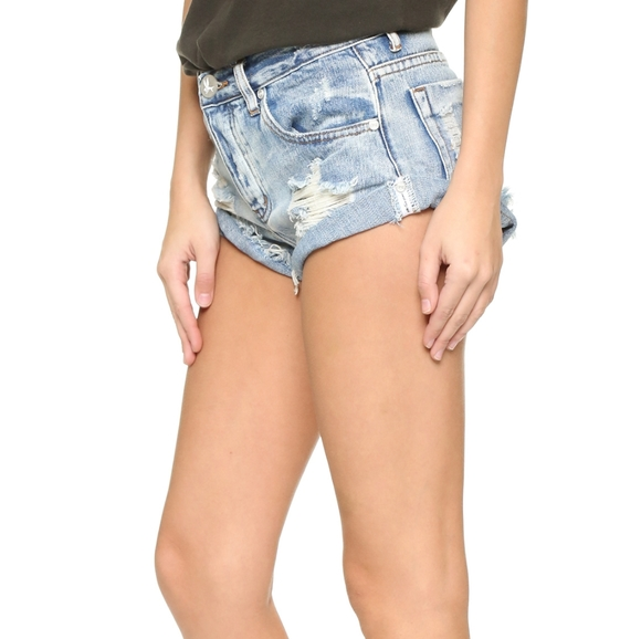 One Teaspoon Pants - One Teaspoon Bandits Distressed Angled Shorts,28